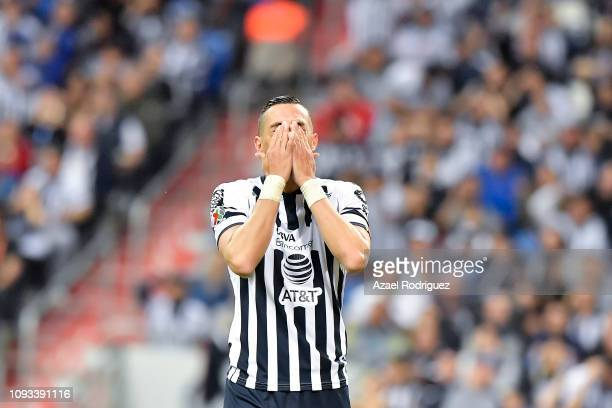Rogelio Funes Mori of Monterrey reacts during the 2nd round match between Monterrey and Leon as part of the Torneo Clausura 2019 Liga MX at BBVA...