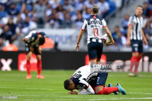 Rogelio Funes Mori of Monterrey reacts during the 9th round match between Monterrey and Atletico San Luis as part of the Torneo Clausura 2020 Liga MX...