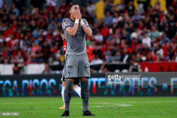 Rogelio Funes Mori of Monterrey reacts during the 9th round match between Atlas and Monterrey as part of the Torneo Clausura 2018 Liga MX at Jalisco...