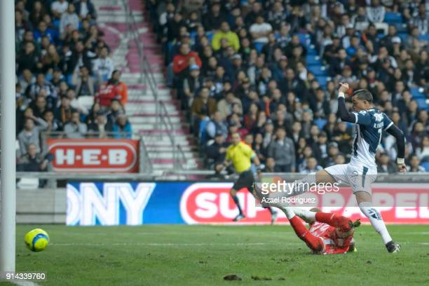 Rogelio Funes Mori of Monterrey scores his team's second goal during the 5th round match between Monterrey and Leon as part of the Torneo Clausura...