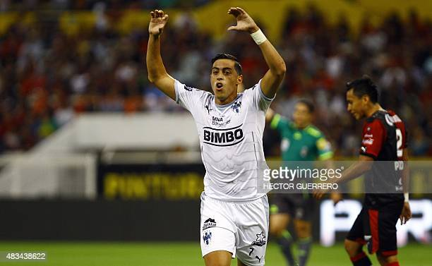 Rogelio Funes of Monterrey celebrates after a score during their Mexican Apertura2015 tournament football match against Atlas at Jalisco stadium on...