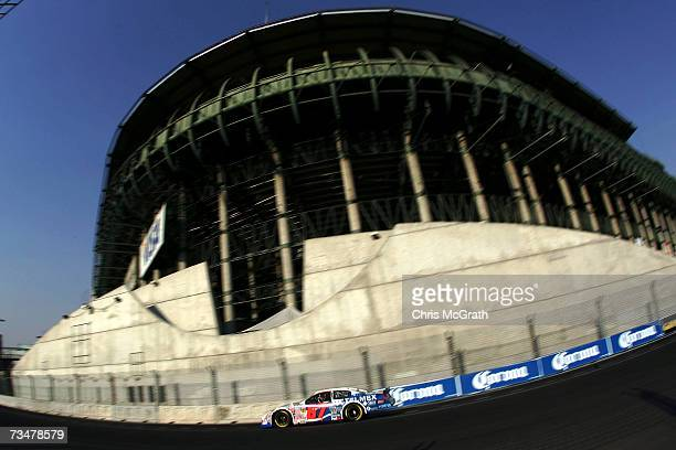 Rogelio Lopez drives the telmex Dodge during practice for the NASCAR Busch Series telcel Motorola Mexico 200 on March 2 2007 at the Autodromo...