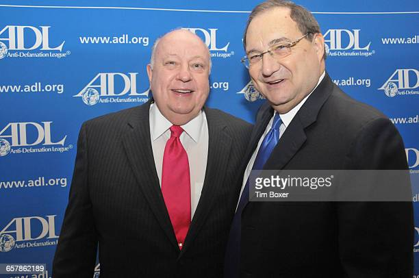 Roger Ailes chair and CEO of Fox News and Abraham Foxman at the time national director of the AntiDefamation League at an ADL dinner held at the...