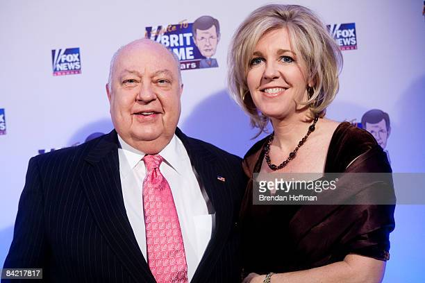Roger Ailes president of FOX News poses with his wife Elizabeth on the red carpet upon arrival at a salute to FOX News Channel's Brit Hume on January...