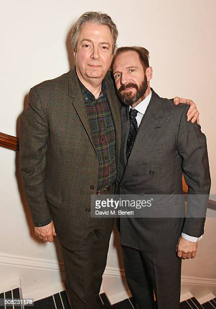 Roger Allam and Ralph Fiennes attend the press night after party for 'The Master Builder' at The Old Vic Theatre on February 3 2016 in London England