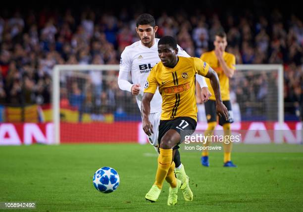 Roger Assale forward of BSC Young Boys with the ball during the UEFA Champions League group stage H football match between Valencia CF and BSC Young...