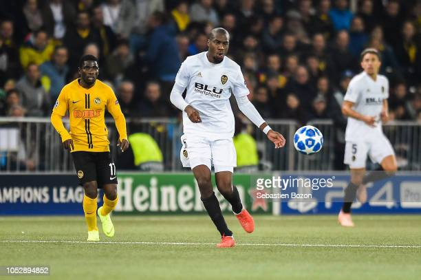 Roger Assale of Bern and Geoffrey Kondogbia of Valencia during the UEFA Champions League match between Young Boys Berne and Valence CF on October 23...