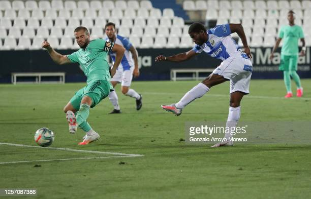 Roger Assale of Leganes scores his team's second goal during the Liga match between CD Leganes and Real Madrid CF at Estadio Municipal de Butarque on...