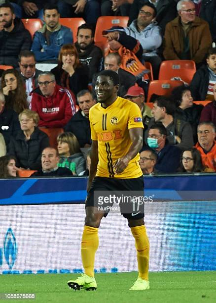 Roger Assale of Young Boys celebrates a goal during the UEFA Champions League group H match between Valencia FC and Young Boys at Mestalla Stadium on...