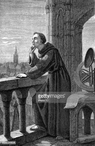Roger Bacon English experimental scientist philosopher and Franciscan called 'Doctor Mirabilis' Bacon in his observatory at the Franciscan monastery...
