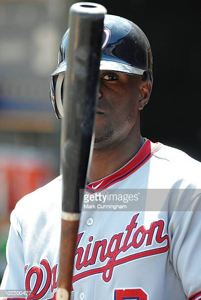 Roger Bernadina of the Washington Nationals looks on from the dugout against the Detroit Tigers during the game at Comerica Park on June 17 2010 in...