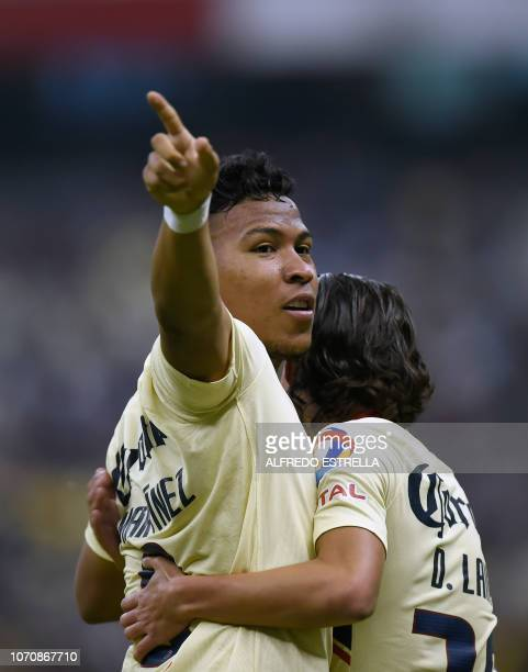 Roger Beyker Martinez of America celebrates his goal against Pumas during the second round of semifinals of the Mexican Apertura tournament football...