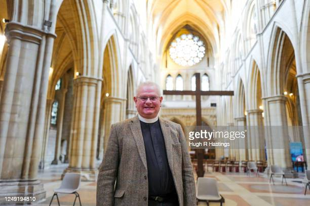 Roger Bush, Dean of Truro, makes preparations for the return of worshipers to the Cathedral on June 12, 2020 in Truro, Cornwall. The government...
