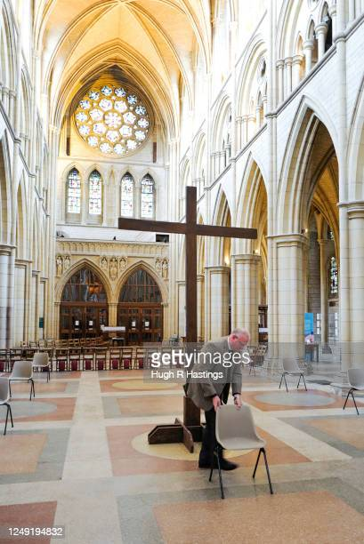 Roger Bush, Dean of Truro, makes preparations for the return of worshipers to the Cathedral on June 12, 2020 in Truro, England. The government...