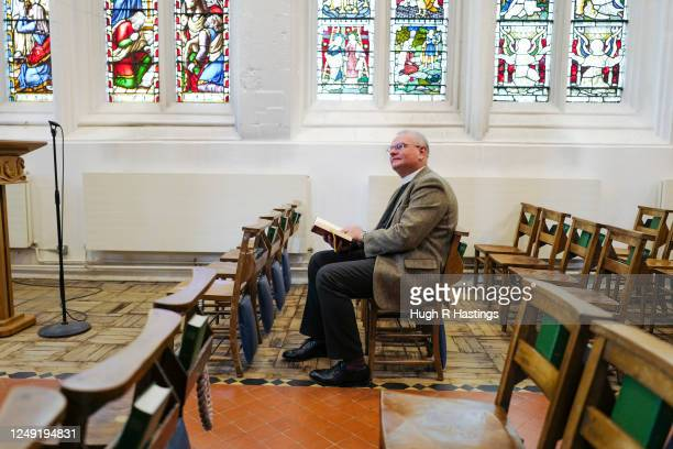Roger Bush Dean of Truro takes time out for prayer in St Mary's Aisle while making preparations for the return of worshipers to the Cathedral on June...