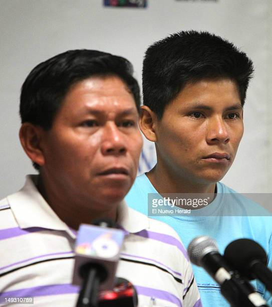 Roger Canelos left answers questions about his son's accident during a press conference at the Ira C Clark Diagnostic Treatment Center Thursday July...