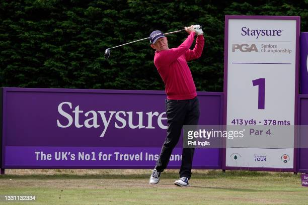 Roger Chapman of England in action during the ProAm ahead of the Staysure PGA Seniors Championship at Formby Golf Club on July 28, 2021 in Formby,...