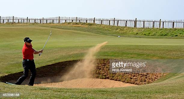 Roger Chapman of England on the par four third hole during the first round of the Senior Open Championship at Royal Porthcawl Golf Club on July 24...
