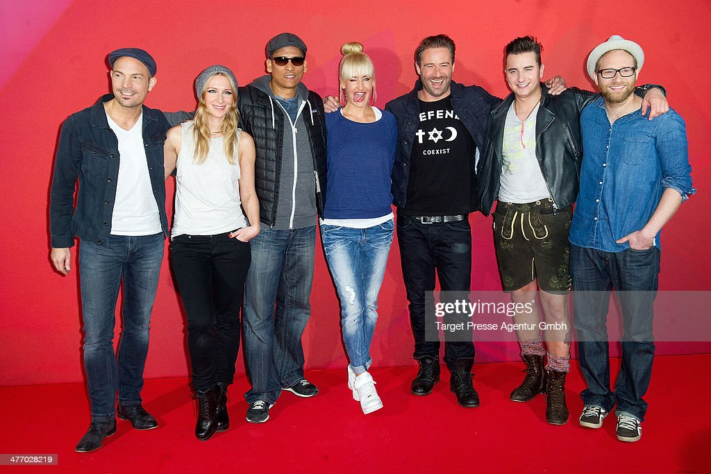 Roger Cicero, Sandra Nasic, Xavier Naidoo, Sarah Connor, Sasha, Andreas Gabalier and Gregor Meyle (L-R) attend the 'Sing meinen Song' photocall at Asphalt Club on March 6, 2014 in Berlin, Germany.