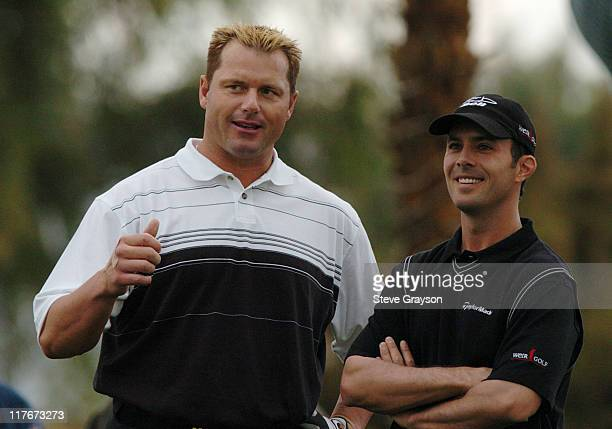 Roger Clemens and Mike Weir in action at the PGA Tour's 45th Bob Hope Chrysler Classic Pro Am at Bermuda Dunes Country Club.