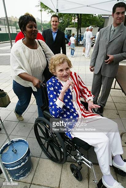 Roger Clemens' mother Bess is decked out in stars and stripes as she arrives at Yankee Stadium to see her son pitch as the New York Yankees take on...