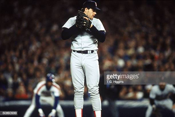 Roger Clemens of the Boston Red Sox on the mound during game seven of the 1986 World Series against the New York Mets at Shea Stadium on October 27,...