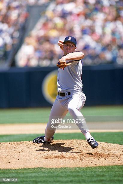 Roger Clemens of the Boston Red Sox pitches against the Oakland Athletics during a game in the 1990 MLB Season at OaklandAlameda County Coliseum in...