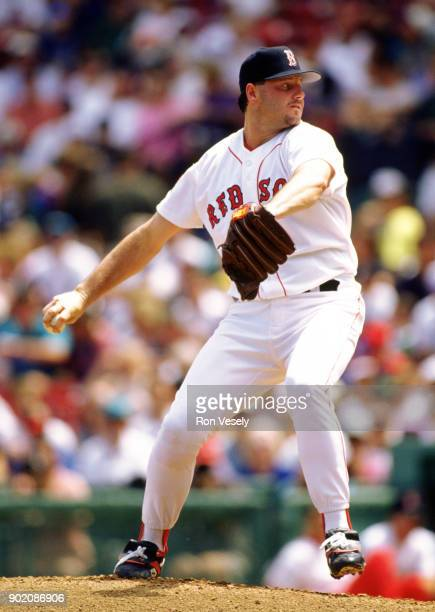 Roger Clemens of the Boston Red Sox pitches during an MLB game at Fenway Park in Boston Massachusetts during the 1989 season