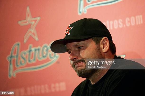 Roger Clemens of the Houston Astros pauses while talking about the recent death of his mother to emphysema during a press conference on September 14...