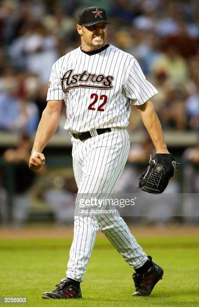 Roger Clemens of the Houston Astros reacts after striking out Michael Tucker of the San Francisco Giants in the sixth inning on April 7, 2004 at...