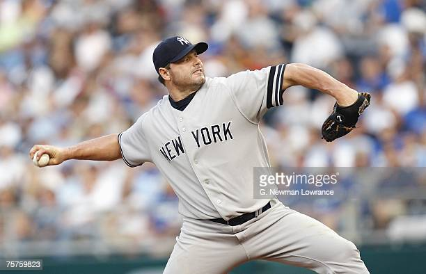 Roger Clemens of the New York Yankees delivers the pitch during the game against the Kansas City Royals on July 23 2007 at Kauffman Stadium in Kansas...