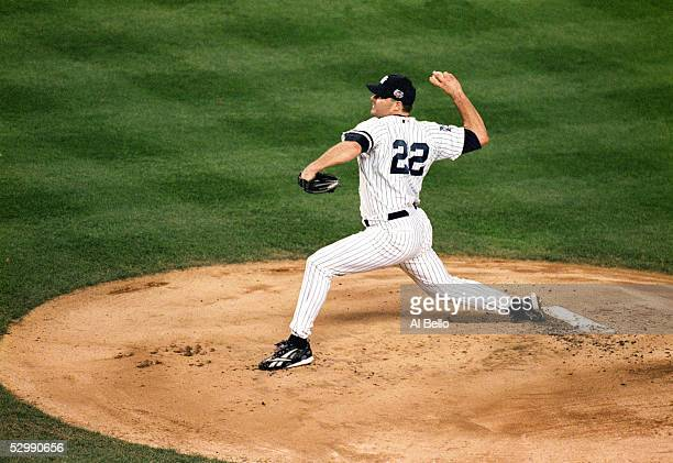 Roger Clemens of the New York Yankees pitches against the New York Mets during Game two of the 2000 World Series at Yankee Stadium on October 22 2000...