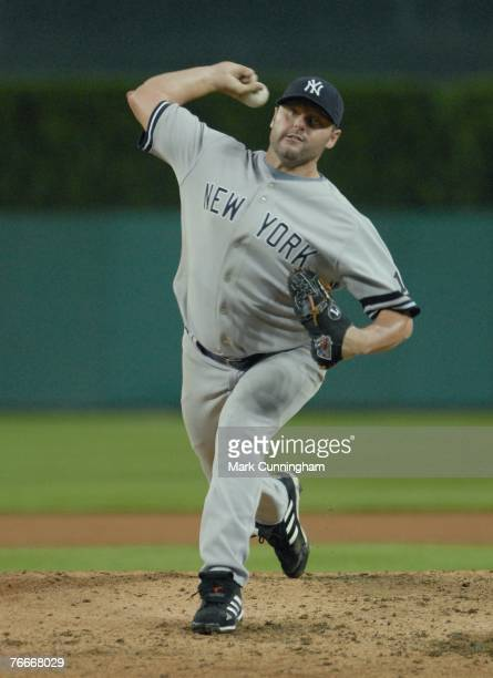Roger Clemens of the New York Yankees pitches during the game against the Detroit Tigers at Comerica Park in Detroit Michigan on August 24 2007 The...