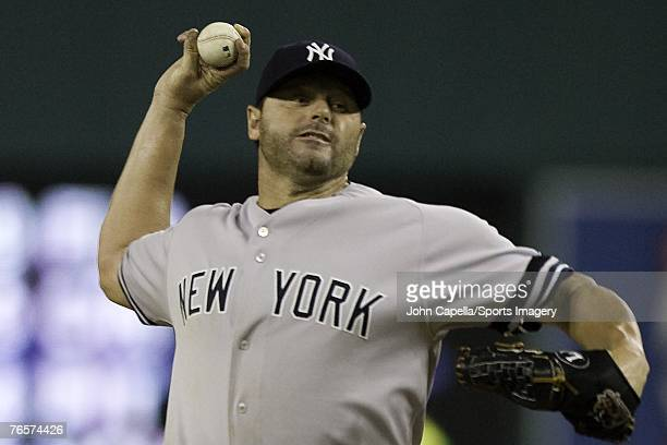 Roger Clemens of the New York Yankees pitching during a MLB game against the Detroit Tigers on August 24 2007 in Detroit Michigan
