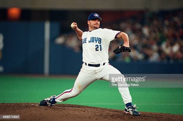 Roger Clemens of the Toronto Blue Jays pitches against the Detroit Tigers on September 26 1998 at Rogers Centre in Toronto Ontario Canada