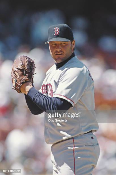 Roger Clemens, pitcher for the Boston Red Sox on the mound during the Major League Baseball American League West game against the Oakland Athletics...