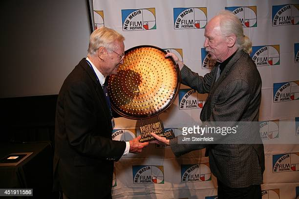 Roger Corman film producer director and actor accepts the Legend Award presented by director John Carpenter at the New Media Film Festival at the...
