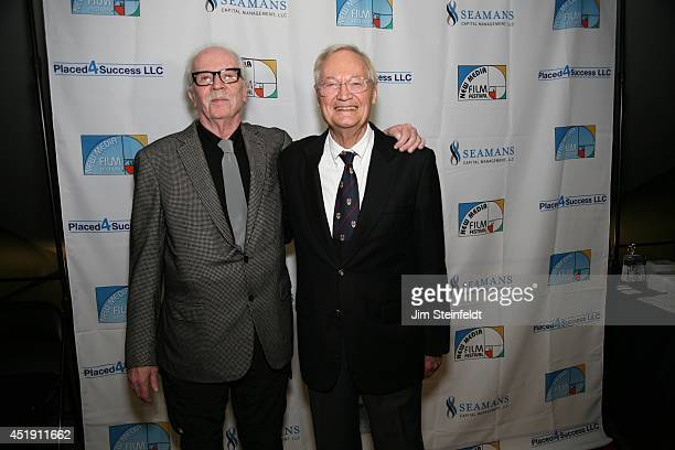 Roger Corman film producer director and actor poses with director John Carpenter at the New Media Film Festival at the Landmark Theatre in Los...