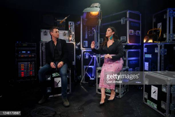 Roger Corser and Catherine Alcorn are seen during recording of the live show on June 05 2020 in Sydney Australia The Reservoir Room is livestream...