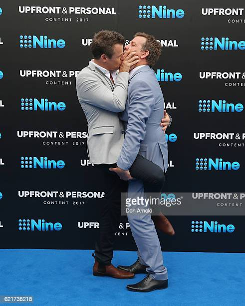 Roger Corser and Rhys Muldoon share a moment during the Channel Nine Upfronts at The Star on November 8, 2016 in Sydney, Australia.