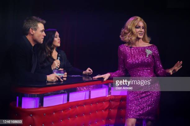 Roger Corser, Catherine Alcorn and Verushka Darling are seen during recording of the live show on June 05, 2020 in Sydney, Australia. The Reservoir...