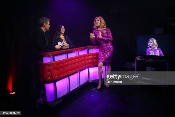 Roger Corser Catherine Alcorn and Verushka Darling are seen during recording of the live show on June 05 2020 in Sydney Australia The Reservoir Room...