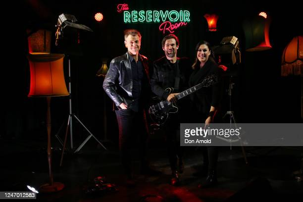 Roger Corser Phil Jamieson and Catherine Alcorn pose during on set on June 06 2020 in Sydney Australia The Reservoir Room is livestream performances...
