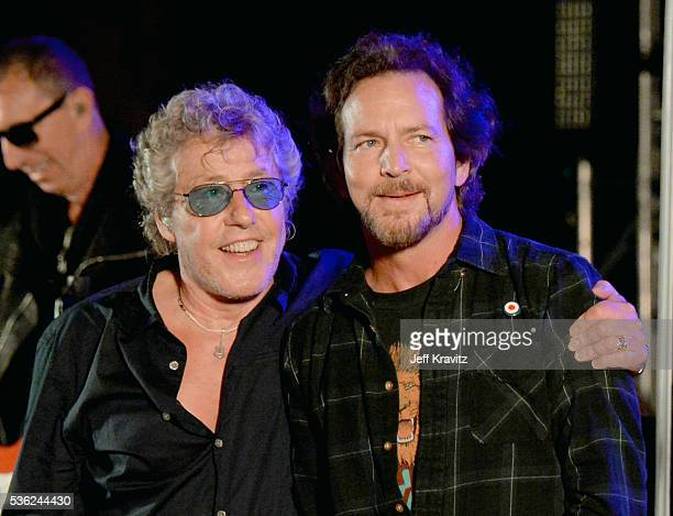 Roger Daltrey and Eddie Vedder perform onstage at WHO Cares About The Next Generation at a private residence on May 31 2016 in Pacific Palisades City