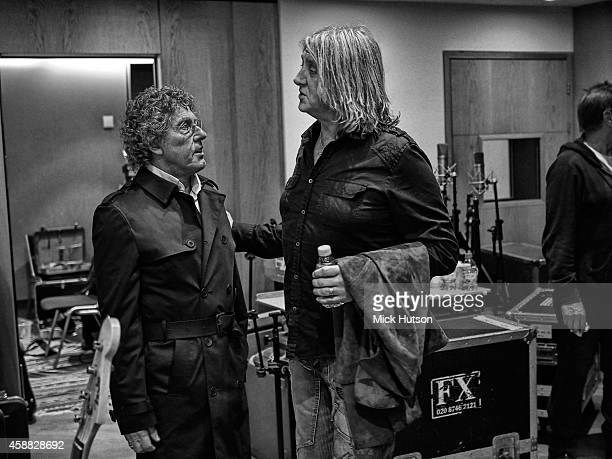 Roger Daltrey and Joe Elliott during rehearsals for The Who's 50th Anniversary Gig for The Teenage Cancer Trust at British Grove Studios on November...