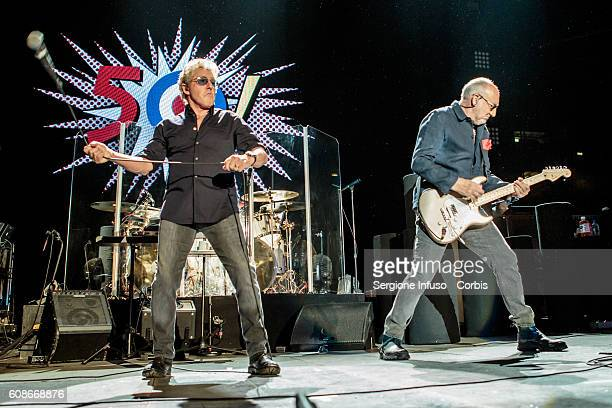 September 19: Roger Daltrey and Pete Townshend of English rock band The Who perform live at Mediolanum Forum in Milan, Italy, with their Back To The...