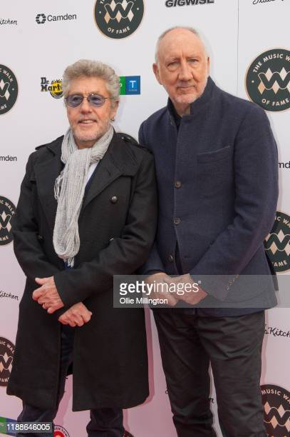 Roger Daltrey and Pete Townshend of The Who at the Music Walk Of Fame for their Founding Stone Unveiling on Camden High Street on November 19 2019 in...