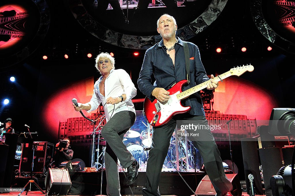 Roger Daltrey (L) and Pete Townshend of The Who perform at 02 Arena on June 15, 2013 in London, England.