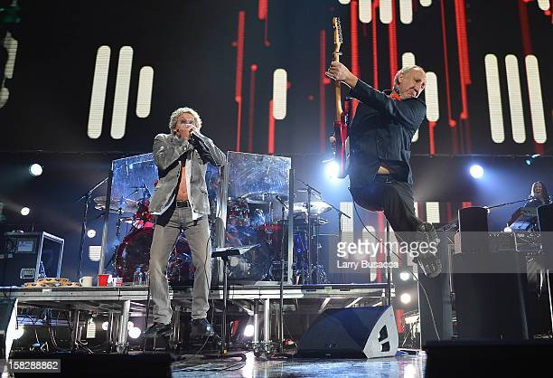 Roger Daltrey and Pete Townshend of The Who perform at 121212 a concert benefiting The Robin Hood Relief Fund to aid the victims of Hurricane Sandy...