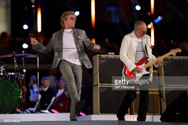 Roger Daltrey and Pete Townshend of The Who perform during the Closing Ceremony on Day 16 of the London 2012 Olympic Games at Olympic Stadium on...